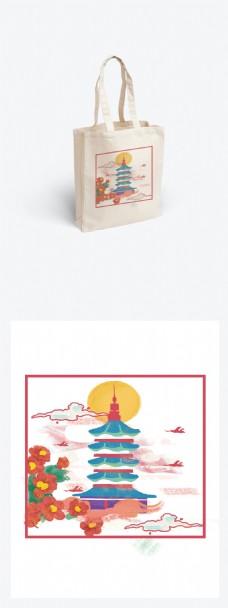 小清新插画雷峰塔小建筑帆布袋