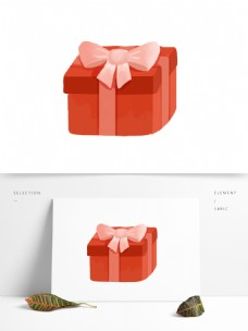 卡通红色蝴蝶结礼物盒图案元素