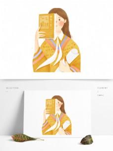 拿着书本的女孩图案设计