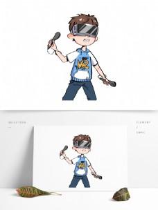 体验VR的时尚男孩图案