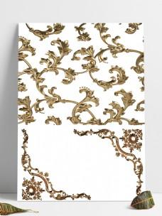 欧式金色花边装饰元素