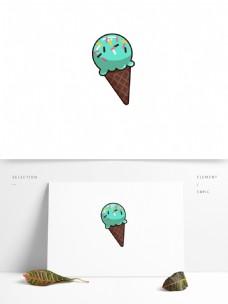卡通可爱抹茶味冰淇淋