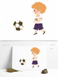 手绘踢足球的男孩