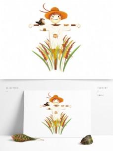 芒种小麦稻草人创意设计元素图片png素材