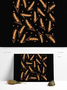 创意小清新手绘风小麦装饰图案
