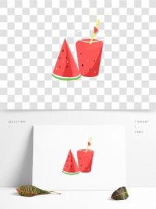 手绘夏日饮品西瓜汁