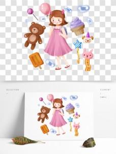 手绘可爱卡通儿童节小女孩开心玩耍礼物