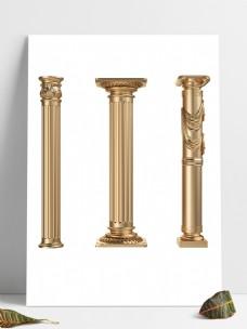 欧式金色罗马柱装饰元素