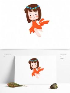 快乐六一儿童节精灵女孩原创手绘元素