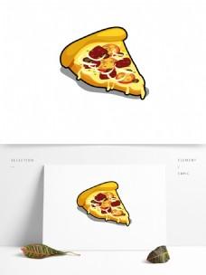 扁平简约矢量披萨