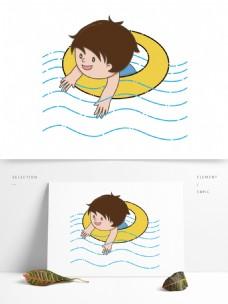 夏至元素夏天游泳