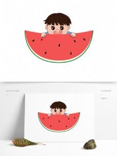 夏至元素孩童吃西瓜