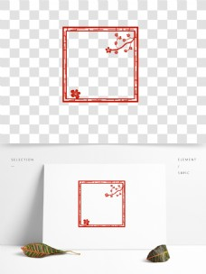 剪纸边框红色边框桃花