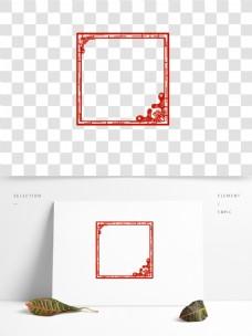 剪纸边框红色边框浪花