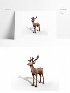 梅花鹿模型带贴图png空底图