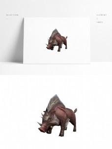 野猪模型带贴图png白底图