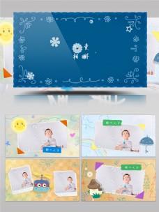 卡通可爱儿童成长历程相册展示AE模板