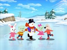 冰上芭蕾小熊雪人插画漫画动画