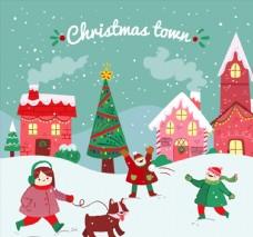 卡通圣诞小城和人物插画