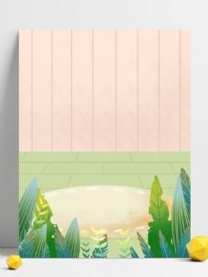 夏至节气绿叶背景设计