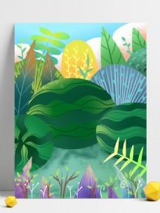 夏至节气西瓜树林背景