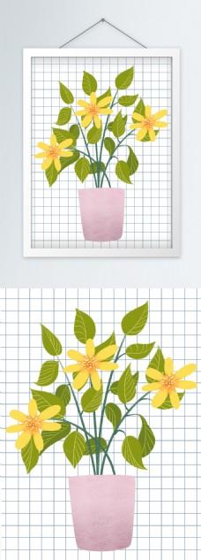 北欧绿色小清新植物花卉叶子挂画
