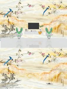 新中式大理石纹花鸟背景墙