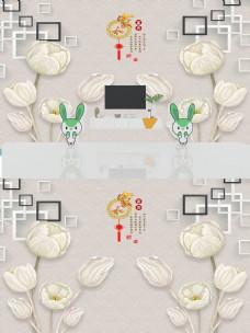 3D白色百合花朵立体背景墙