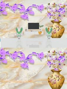 3D大理石纹花瓶玉兰背景墙