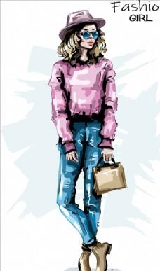 水彩手绘时装女郎
