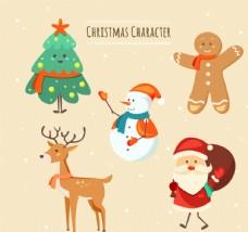 5款可爱圣诞节角色矢量素材