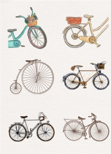 文艺手绘自行车装饰图案