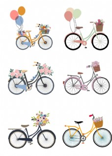 文艺手绘自行车设计素材