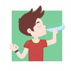 男孩喝的水