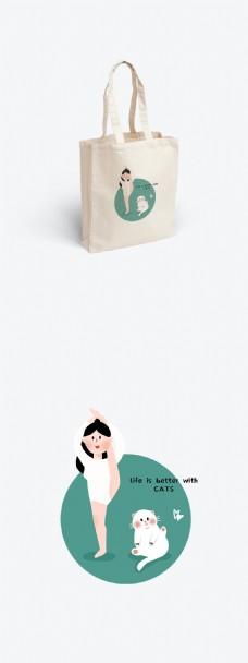 原创手绘可爱小人猫咪图案帆布袋设计