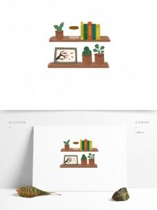 简约木架上的盆栽书本装饰元素