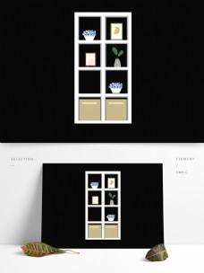 白色格子柜子元素