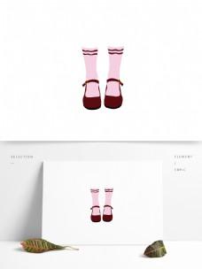 原创女孩红色皮鞋袜子