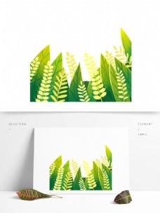 绿叶麦穗树叶图案元素
