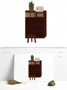 棕色书柜盆栽元素
