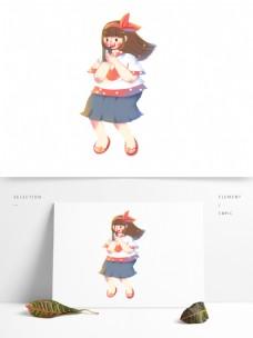 玩手机的彩绘女孩图案