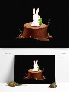 木墩上的粽子小兔图案