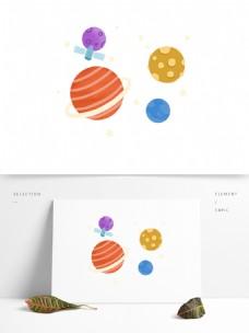卡通彩色宇宙星球元素设计