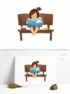 坐在长椅上看书的女孩元素