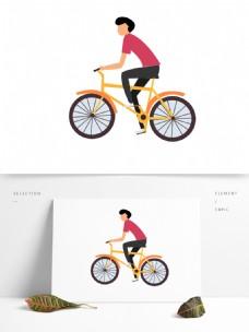 卡通骑行骑自行车的男孩