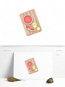 清新手绘砧板上的水果西瓜和柠檬