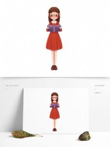 站着看书的卡通女孩图案元素