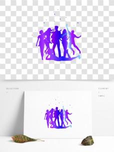 紫色剪影狂欢人群