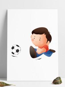 爱踢足球的小男孩