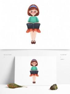 看书的卡通女孩图案元素